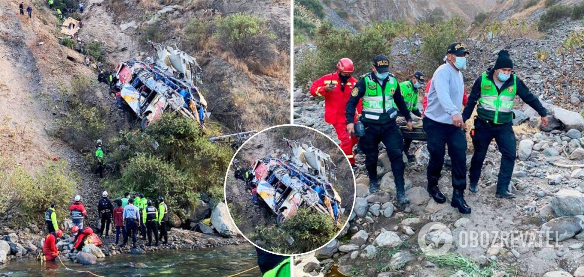 У Перу впав в ущелину пасажирський автобус: 17 загиблих і десятки потерпілих. Фото