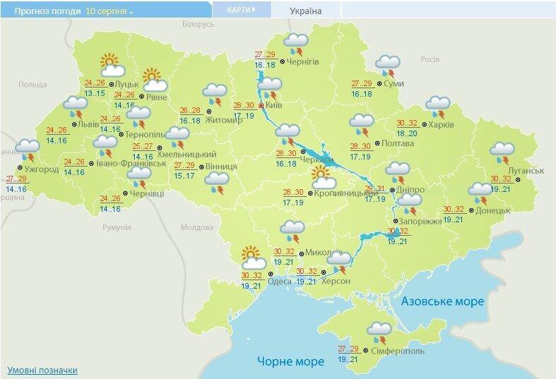 Прогноз погоди в Україні на 10 серпня.